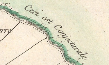 "Excerpt from a 1753 map, showing the words ""Ceci est Conjecturale""."