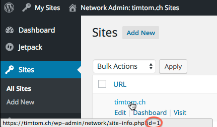 Screenshot of the WordPress Site admin, showing the mouse cursor hovering over a site URL to reveal its ID.