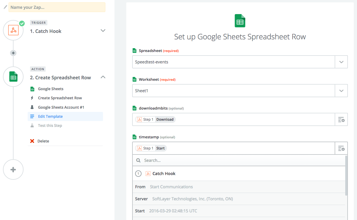Screenshot of the Zapier interface, showing options to set up a Google Spreadsheets app.